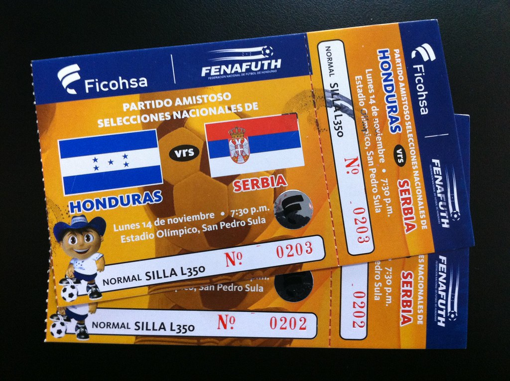 Ticket: Honduras vs Serbia Amistoso Internacional