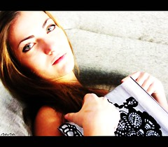 When you say nothing at all.......... (nanettesol) Tags: girl eyes retrato libro occhi sguardo ojos alta acuarela mirada paola ragazza clave
