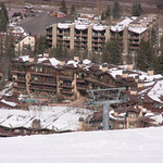 Sunny Vail Valley - Looking towards the upscale Manor Vail Lodge accommodation PHOTO CREDIT: Jeff MacLennan, WMSC Coach