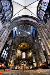 Inside the strasbourg's cathedral. (Patrick Mayon) Tags: france architecture lowlight cathedral interior interieur stainedglass strasbourg vitrail alsace handheld strasburg hdr cathedrale highiso photomatix tonemapped efs1022mmf3545usm liebfrauenmnster cathdralenotredamedestrasbourg iwishihadusedatripod