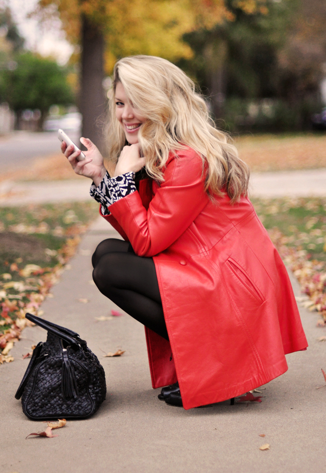vintage 60's red coral leather coat  and black tights