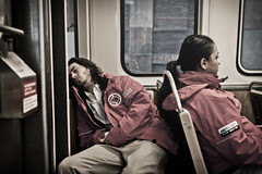Sleeping Car (Βrandon) Tags: morning chicago train subway cta el tired commute redline