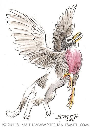 Tiny Griffons ATC #6 Robin