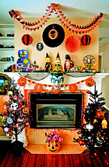 Going Mantle For Halloween! (boopsie.daisy) Tags: carnival decorations orange holiday black tree home halloween modern vintage pumpkin skull living october fireplace witch jackolantern vampire room carousel dracula cobweb ornaments lanterns streamers decor mantle 2011 mantlescape