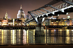 Millennium Bridge Perspective (` Toshio ') Tags: longexposure greatbritain bridge england building london thames architecture night reflections river europe cityscape crossing unitedkingdom steel perspective royal parliament millenniumbridge pedestrians stpaulscathedral suspensionbridge royalty europeanunion thamesriver wobblybridge toshio londonmillenniumfootbridge flickrstruereflection1