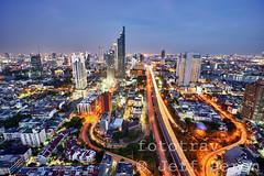 Exploring Bangkok rooftops #2 (fototrav) Tags: road street city travel light sunset rooftop electric skyline night asian thailand evening highway asia cityscape traffic bangkok aerial illuminated hdr