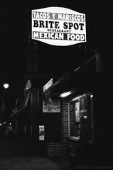 Brite Spot Mexican Restaurant - Nikon FE - Nikkor-SC 55mm F/1.2 - Ilford HP5+ (divewizard) Tags: california blackandwhite bw white black slr blancoynegro film blanco analog 35mm restaurant blackwhite losangeles analgica nikon noir y noiretblanc negro 1600 55mm hp5 fe et blanc nikonfe ilford sanpedro iso1600 mexicanrestaurant f12 britespot pelcula losangelescounty schwarzundweiss blackwhitephotos y44 nikkorsc ncps chrisgrossman 55mmf12sc northcoastphotographicservices nikkorsc55mmf12 nikkorsc nikkorsc55mmf12
