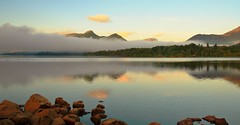 Derwent water. (R.B.Images) Tags: trees reflection misty sunrise lakedistrict derwentwater catbells