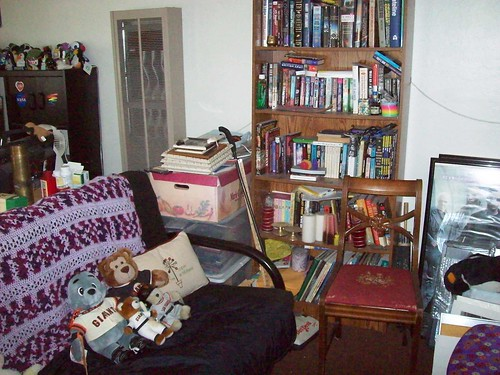 The living area and an over-stuffed bookcase.