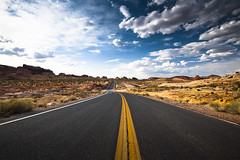 Valley of fire 2 (songallery) Tags: overton usa rock stone cloud sky road red curve sunny contrast valleyoffire landscape nature nevada vanishing landscapes yellow blue colorful d3x 旅遊 旅遊攝影 美國