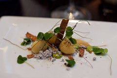 Heritage potatoes in onion ashes, lovage and wood sorrel