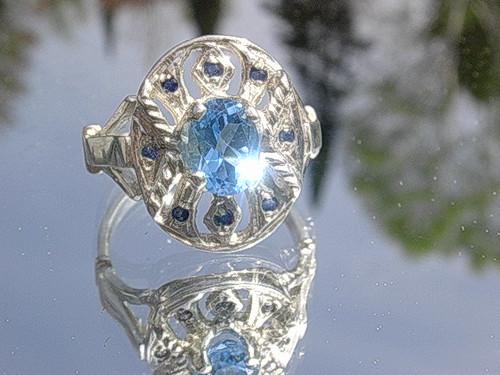 Silver/9kt Gold Blue Topaz/Multi Sapphire Artisan Ring