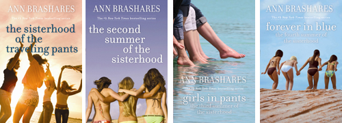 All four re-release covers of the YA series, each with a photograph of four women at the beach with their faces turned away.