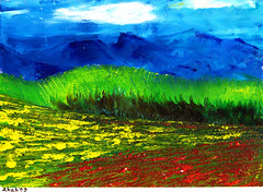 Plowed land (Wasfi Akab) Tags: pink blue original trees light shadow red sky italy cloud brown white mountain mountains color tree green art nature beautiful beauty field grass yellow modern clouds painting paper landscape geotagged florence europe paint strada artist italia day artistic outdoor iraq east canvas crop tuscany painter oil land impressionism firenze exile middle toscana impressionist iraqi artista tuscan ocher middleast akab wasfi