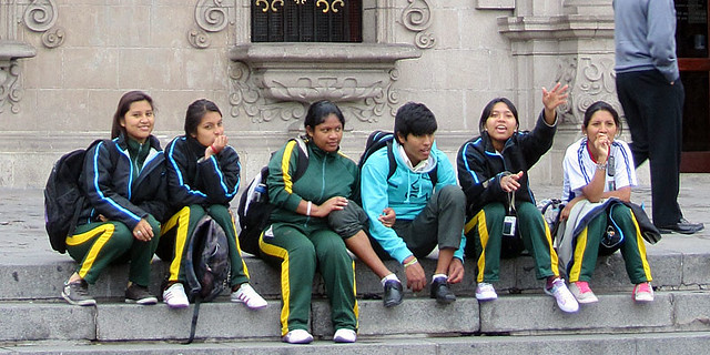 Peruvian Kids on Steps