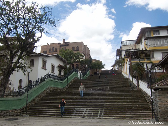 Looking up at the Escalinata, which connects central Cuenca with the souther part of the city.
