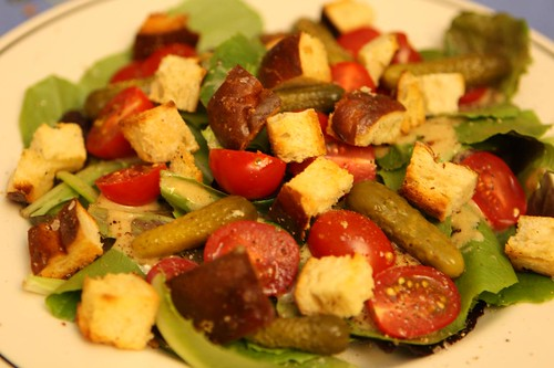 Mixed Baby Greens with Grape Tomatoes, Pretzel Croutons, Cornichons, and Dijon Vinaigrette