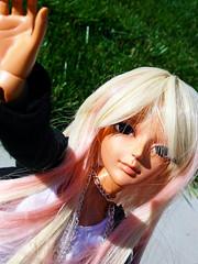 Block! (roxy has dolls) Tags: pink woman white black anime eye glass girl female angel hoodie streak dream tan mini an 45 blond wig blonde dollfie streaked 16mm 78 tanned msd aod 45cm angelofdream dollfiemini minisizedollfiebjd twotonestreaks