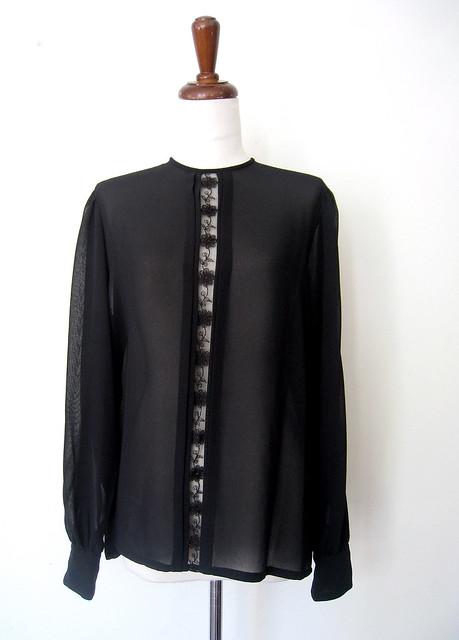 Sheer Peek-a-boo Black Lace Blouse, vintage 80s