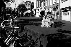 Oude man met hond, Kerkplein Arnhem (Pim Geerts) Tags: street old dog man canon photography eos with arnhem hond petting met kerk oude stad aai stroking aaien 1635mm binnenstad straatfotografie eusebiusplein 5dm2 straatplaat