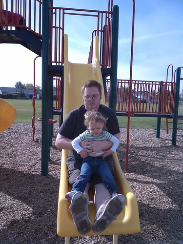 Daddy and Lil sliding