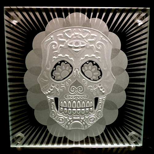 Sugar Skull sandblasted full view