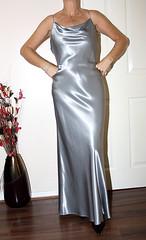 silver liquid satin evening dress (sheerglamour) Tags: fetish dress mini skirt heels satin wiggle