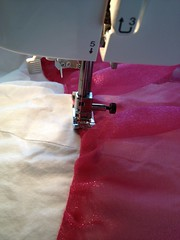 Topstitching the ruffles