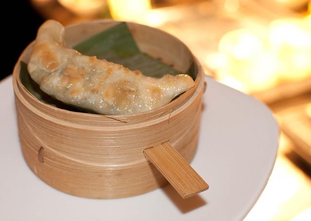 Seared shrimp and vegetable dumplings