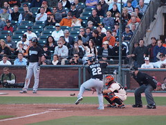 Marlins Donnie Murphy lifts leg in anticipation of incoming pitch (Eric Broder Van Dyke) Tags: sf sanfrancisco leg incoming donnie pitch giants anticipation murphy marlin batter lifts marlins busterposey donniemurphy