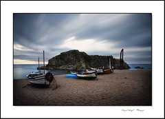 Blanes (mireba72) Tags: blue sea costa seascape color water landscape mar spain agua nikon scenery mediterraneo smooth paisaje catalunya barcas brava cala blanes sapalomera d90 mireba