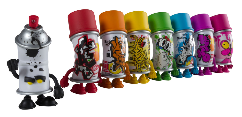 bent world spray can mini series from mad x kidrobot. Black Bedroom Furniture Sets. Home Design Ideas