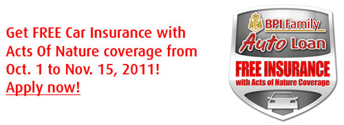 Free Car Insurance with Acts of Nature coverage from BPI Auto Loan