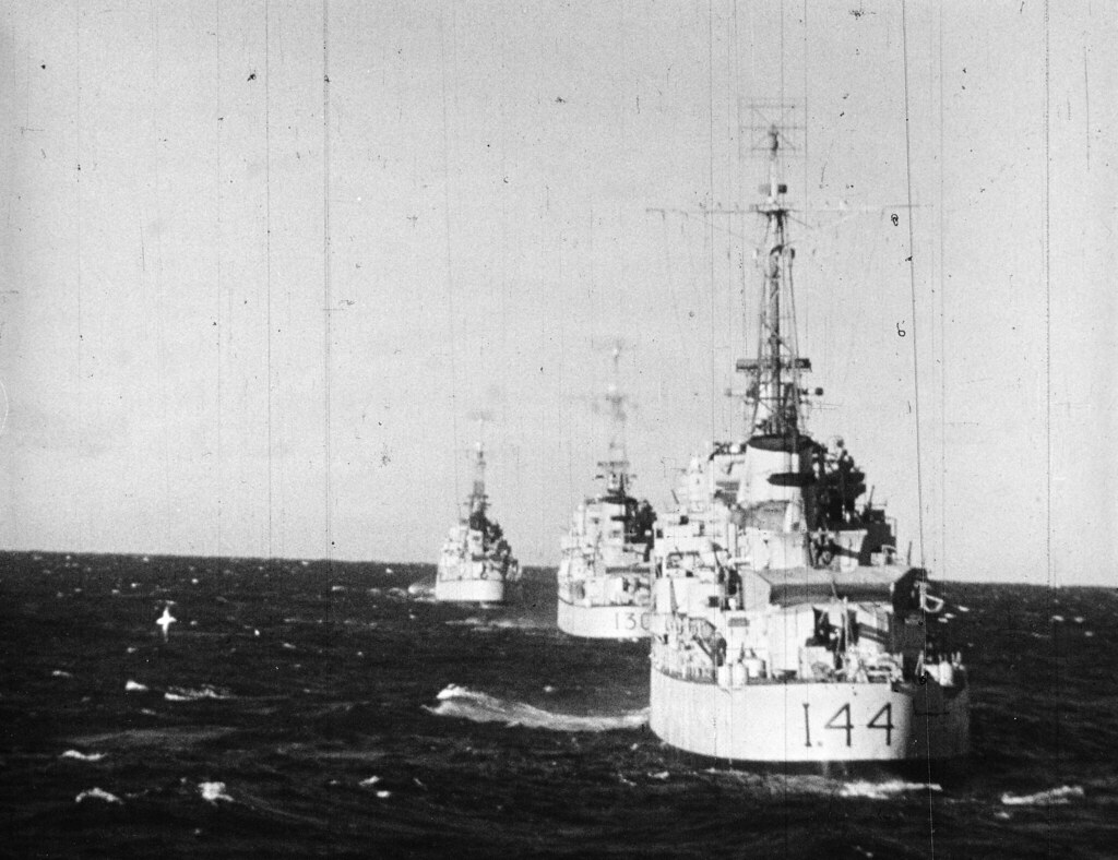 Circa 1946-1950: RAN Tribal Class destroyers in line - Photo RAN Historical.