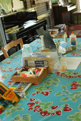 craft supplies, set up on the table