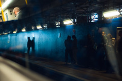 Platform (TGKW) Tags: street old travel light portrait people man reflection window public against station silhouette wall train reflections scaffolding shadows candid transport platform rail paisley leaning gilmour 1459