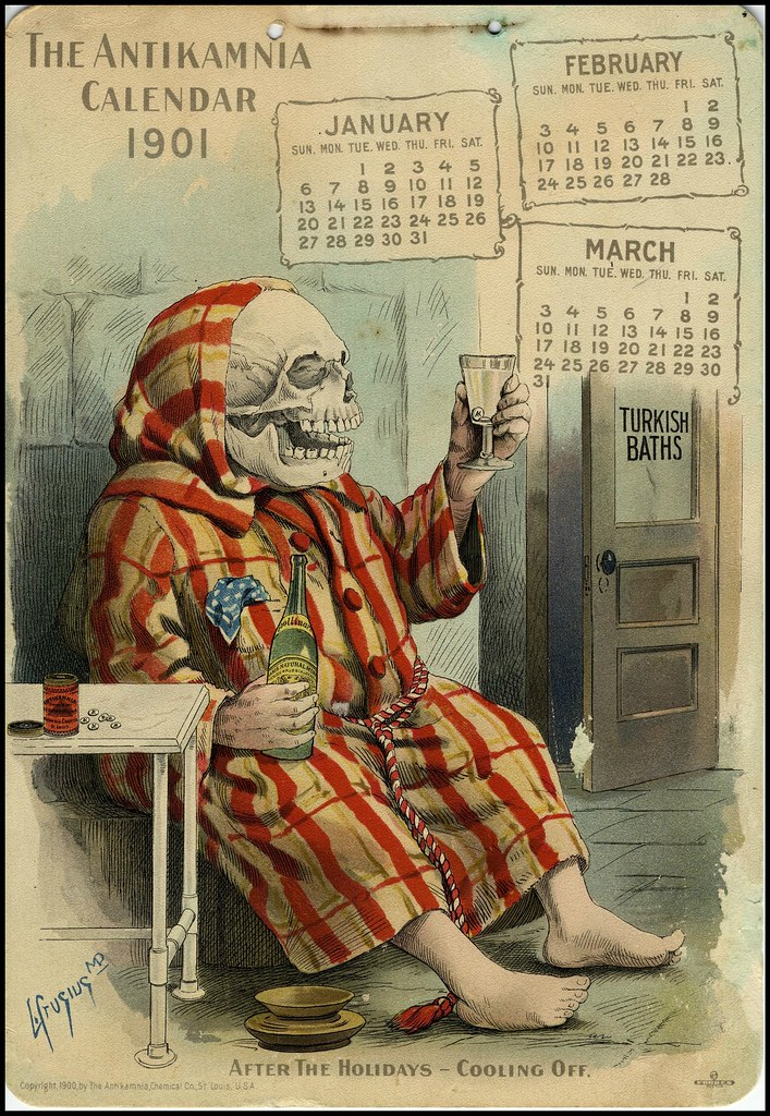 seated skeleton in striped robed pyjamas contemplates his wine | calendar