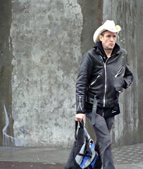 Midnight Cowboy (knightbefore_99) Tags: street city black hat station leather vancouver corner cowboy candid midnight grandview skytrain commercialdrive eastvan thedrive