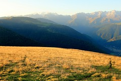 Golden Meadow (Islxndis) Tags: morning mountains contrast gold meadow prairie peaks luchon aneto pyrenes maladetta
