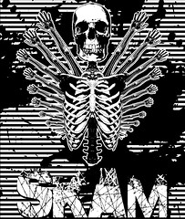 Street Anatomy SKAM (SKAM sticker) Tags: blackandwhite streetart lines oregon portland skull hands screenprint arm stickers cage halftone human anatomy pdx rib visual effect splatter freakofnature skam 2011 humanrace halloweeninspired handwings skeletonwithwings slaptaggers blowprint visualassaultcrew