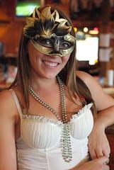 Halloween at Hooters III (Just George 2) Tags: woman halloween smile pretty hooters greeneyes hootersgirl