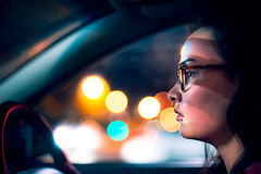 Annie (TGKW) Tags: portrait people window car wheel night lights glasses edinburgh driving sitting traffic steering bokeh sister annie nightlife spectacles 2648