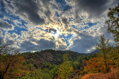 Clouds on Fire (Mike G. K.) Tags: trees sky mountains fall clouds landscape nikon raw cyprus hills foliage hdr photomatix 1exp d5100  palechori mikegk:gettyimages=submitted