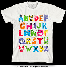 Alphabet Monsters - t (birdarts) Tags: typography crazy cool funny humor critters doodles alphabet lettering cartoons whitetshirt printedtshirt handdrawntype kidstshirt kidsposter kidsshirt monstertshirt handdrawnfonts andibird childrensposter alphabetmonsters alphabetcartoons schoolalphabet