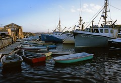 Lobster Boats - Pigeon Cove Harbor, Rockport, Massachusetts - Fujica GW690 - Provia 400X (divewizard) Tags: color film analog port mediumformat boats harbor fishing analgica massachusetts tripod rangefinder 400 transparency lobster 6x9 690 90mm fujichrome provia e6 fujica fujinon lobsterboat commerical rockport ebc pcv f35 capeann pelcula pigeoncove gw690 400x rxp provia400x chrisgrossman ebcfujinon90mmf35 lobsterfishingboat precisioncameravideo commerciallobsterboat fujicagw690