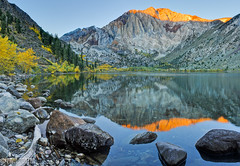 Sunrise, Laurel Mountain at Convict Lake. (Paul Porter Photography) Tags: california mountains water yellow sunrise reflections landscape paul liberty photography gold freedom fallcolor lakes free clarity sierra explore willow mammoth limestone aspen sierranevada eastside porter alpenglow owensvalley convictlake laurelmountain