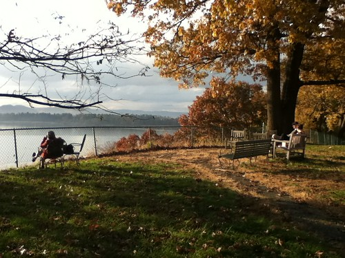 Sitting overlooking the Hudson during our mid-training retreat