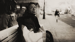 a person, a place, and a moment in time (stephane (montreal)) Tags: street urban woman white black lady de photography noir photographie montreal candid femme rue et blanc ville stephane urbaine paquet 2011