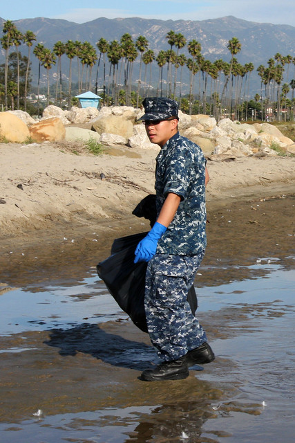USS Milius Sailors Clean Santa Barbara Beach