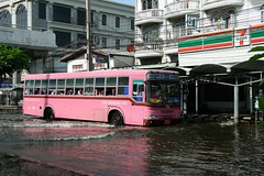 privately owned buses have now reappeared (the foreign photographer - ) Tags: road bus thailand store flooding flood bangkok 63 number stop 7eleven 356 bangkhen phahoyolthin